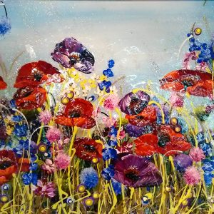 Harrison Lord Gallery Rozanne Bell Original Paintings - Red & Purple Poppies