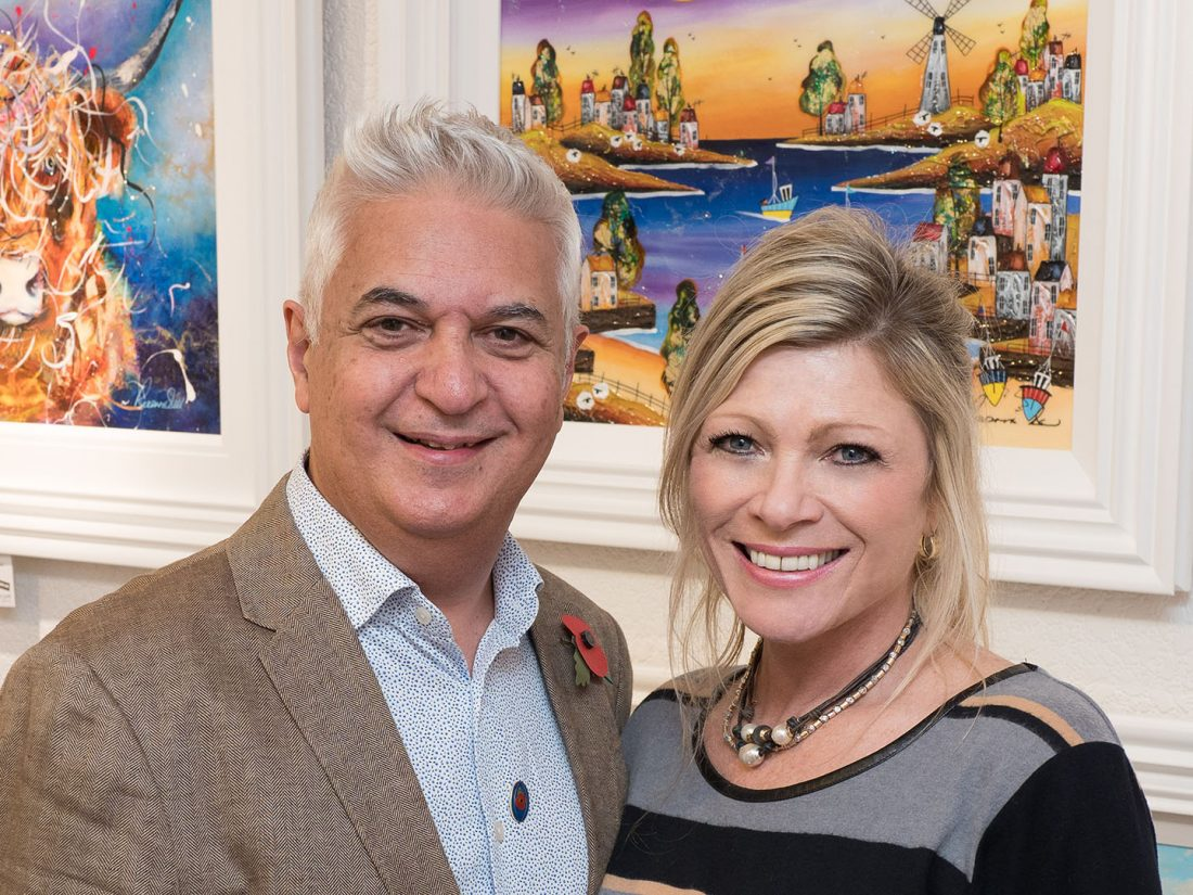 Steven Lord with artist Rozanne Bell at the Harrison Lord Gallery in Brighouse