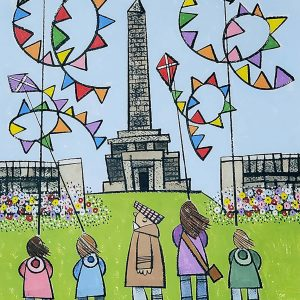Roger_Davies_original_Flying_Kites_Up_Stoodley_Pike_In_Summer_RD215
