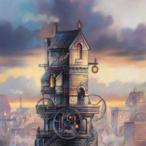 Chris Pepper original painting clocking on CP09