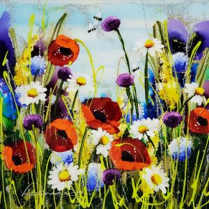 Rozanne Bell original Poppies and Daisies id402